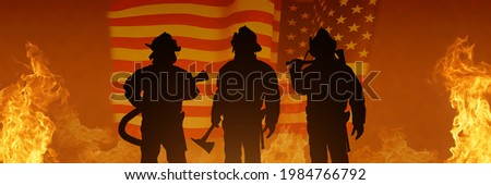 USA firefighter with nation flag. Greeting card for Firefighters Day , Patriot Day, Independence Day . America celebration. Royalty-Free Stock Photo #1984766792