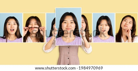 Having fun. Young Asian girl showing her portraits with different emotions isolated on yellow background. Happy, sad, calm and pleased. Concept of facial expressions, mood, funny meme emotions.