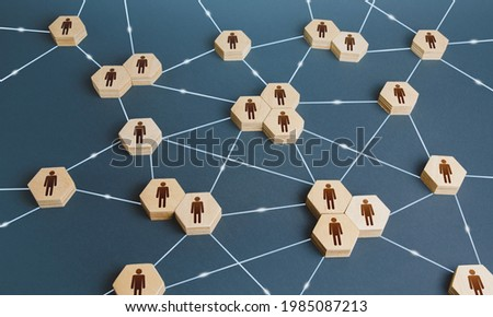Network of interconnected people. Interactions between employees and working groups. Social business connections. Networking communication. Decentralized hierarchical system of company. Organization Royalty-Free Stock Photo #1985087213