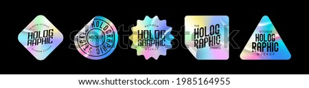 Holographic stickers. Hologram labels of different shapes. Sticker shapes for design mockups. Holographic textured stickers for preview tags, labels. Vector illustration Royalty-Free Stock Photo #1985164955