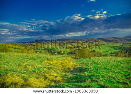 Landscape of beautiful mountain nature, clouds and lovely background for screensaver