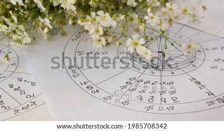 Printed astrology charts with planets and small white spring flowers in the background