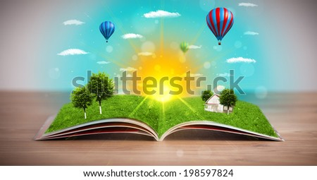 Open book with green nature world coming out of its pages, ecological concept #198597824
