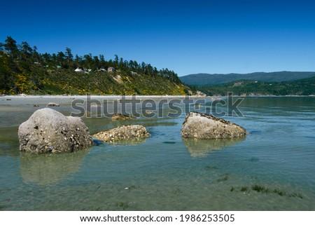 Sand beach on Savary Island in Desolation Sound. Sunshine Coast. British Columbia. Canada Royalty-Free Stock Photo #1986253505