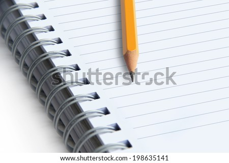 image of a notebooks and pencil on white background, close-up #198635141