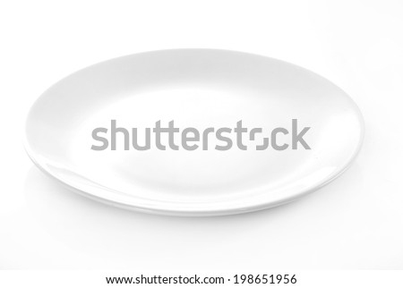 empty plate isolated on white background Royalty-Free Stock Photo #198651956