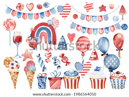4th of July clipart, American independence day clipart, Labor day clip art, blue and red watercolor clipart, USA  flag clipart