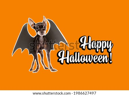 Happy halloween banner decorations. Dog-bat near congratulations. Orange banner on theme of celebration of halloween. Little dog with bat wings as symbol of halloween. All Hallows' Eve illustration