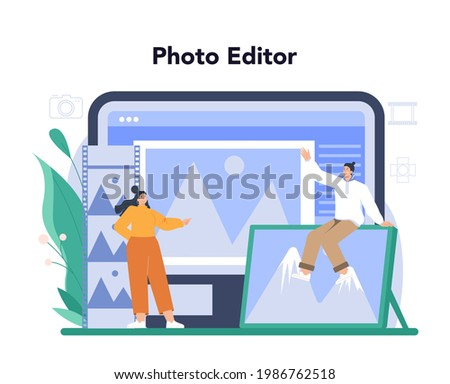 Photographer online service or platform. Professional photographer with camera taking pictures in a studio. Online photo editor. Flat vector illustration