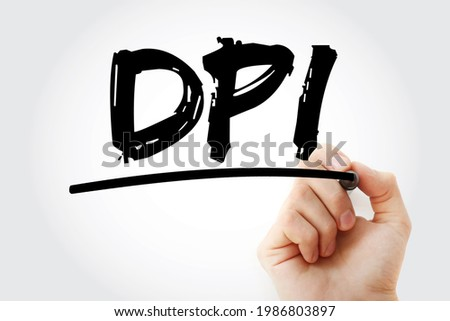 DPI - Dots Per Inch acronym with marker, technology concept background