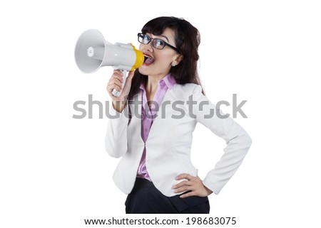 Business woman with megaphone yelling and screaming isolated on white background #198683075