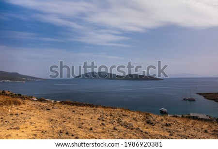 Bodrum, Turkey - october 2020: View from Bodrum coast. Bodrum is one of the most popular summer destinations on Turkey, located by the Aegean Sea, Turkish Riviera. Long exposure picture