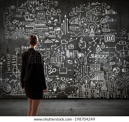 Rear view of businesswoman looking at business sketches on wall #198704249