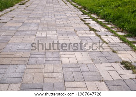 Concrete bricks footpath on the green grass in the park, abstract background of tiles, footpath, sidewalk,  Royalty-Free Stock Photo #1987047728