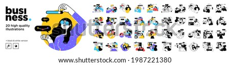 Business Concept illustrations. Mega set. Collection of scenes with men and women taking part in business activities. Vector illustration Royalty-Free Stock Photo #1987221380