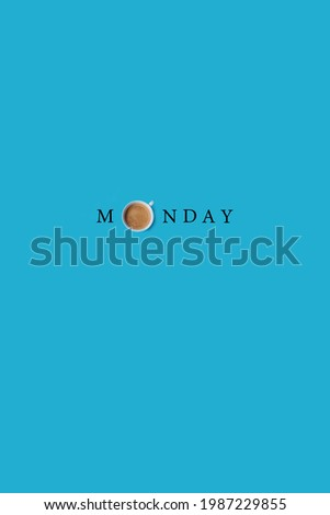 Fresh black coffee in white cup on pastel blue background. Text on image flat lay wallpaper.