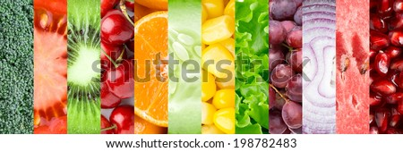 Collage with different fruits, berries and vegetables #198782483