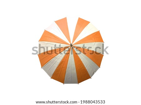 Top view, Single white and orange striped umbrella isolated on white background, stock photo, invesment, business, summer concept