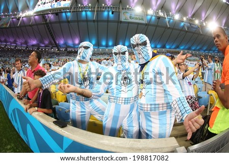 RIO DE JANEIRO, BRAZIL - June 15, 2014: Soccer fans celebrating at the 2014 World Cup Group F game between Argentina and Bosnia at Maracana Stadium. No Use in Brazil #198817082
