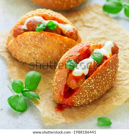 Tasty sandwich with beef, chicken or turkey meatballs in sesame bun with tomato sauce, bechamel and fresh basil. A gourmet snack. Selective Focus, square picture