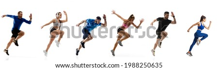 Speed and strength. Development of motions of young athletic fit men and women running isolated over white background. Flyer. Concept of run, sport, competition, championship. Copy space for ad. Royalty-Free Stock Photo #1988250635