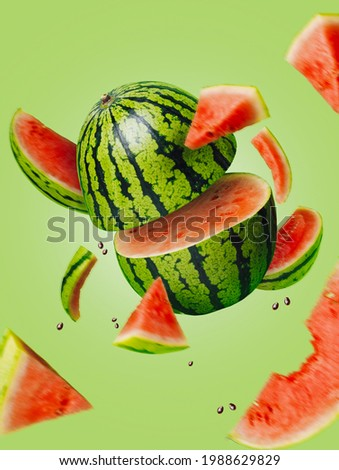 Ripe and juicy watermelon falling in the air isolated on a pastel green background. Creative food concept. Fresh exotic fruit composition. Royalty-Free Stock Photo #1988629829