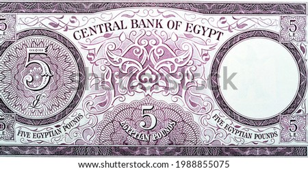 The reverse side of an old Five Egyptian pounds banknote 5 LE Issue year 1964 signed by Ahmed Zendo with Value at left, watermark area at right , Leftover currency, vintage retro, old Egyptian money.