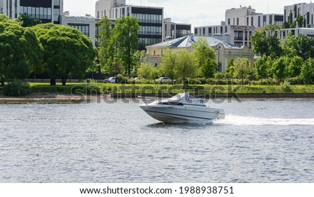 speedboat rides on the lake, speedboat rides on the river, boat trips, boat fishing, boat trips Royalty-Free Stock Photo #1988938751