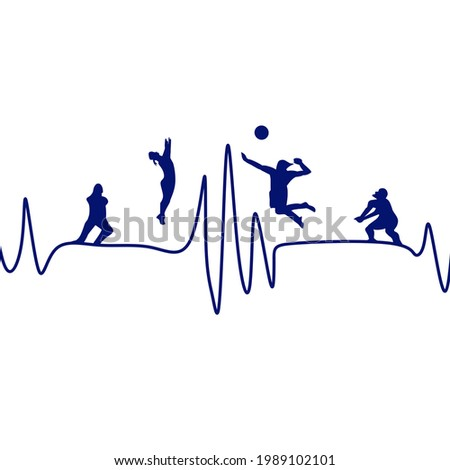Heart beat,volleyball vector, lvolleyball illustrations,volleyball silhouette,volleyball logo,volleyball players,volleyball players silhouette,volleyball team background