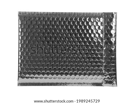 Padded envelope with bubble wrap isolated on white Royalty-Free Stock Photo #1989245729