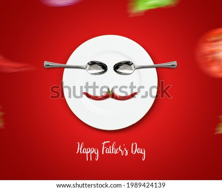 Happy Father's Day restaurant Concept. Father symbol shape with plate and spoon concept for restaurant and food brand for father's day. Restaurant and fast food Father's day concept.