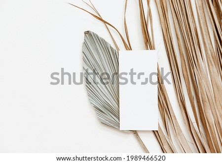 Summer stationery minimal mock-up. Blank card, palm leaves, beige textured table background. Wedding mock up. Flat lay, top view Royalty-Free Stock Photo #1989466520