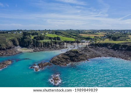 Aerial photo of the cliffs of the coast of Goelo in the Côtes-d'Armor in French Brittany
