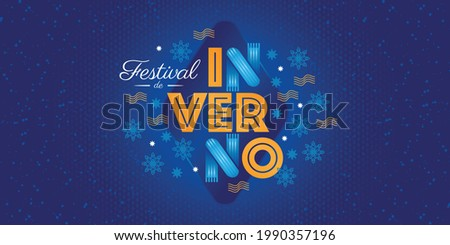 Winter lettering design. Season design elements. Sales decorative elements. Vector for discount for promotional material. Portuguese text saying Winter Festival. Royalty-Free Stock Photo #1990357196