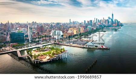 Little Island park at Pier 55 in New York, an artificial island park in the Hudson River west of Manhattan in New York City, adjoining Hudson River Park aerial view Royalty-Free Stock Photo #1990689857