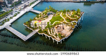 Little Island park at Pier 55 in New York, an artificial island park in the Hudson River west of Manhattan in New York City, adjoining Hudson River Park aerial view Royalty-Free Stock Photo #1990689863