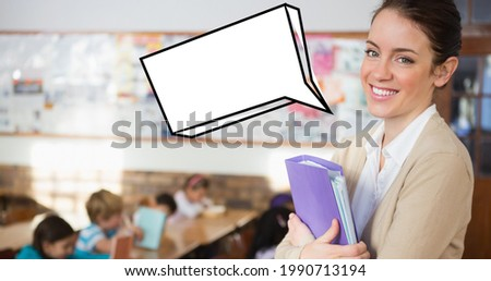 Composition of female school teacher in class with empty cartoon speech bubble. school, education and study concept digitally generated image.