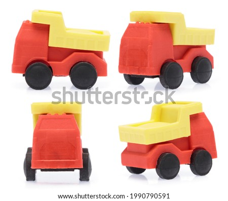 Collection of Rubber eraser Fire Truck isolated on white background