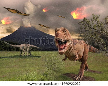 Dinosaur flees from a volcanic eruption and meteorite impact Royalty-Free Stock Photo #1990923032