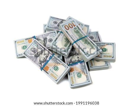 Stack of one hundred dollar bills close-up. Royalty-Free Stock Photo #1991196038