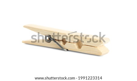 One classic wooden clothespin isolated on white Royalty-Free Stock Photo #1991223314