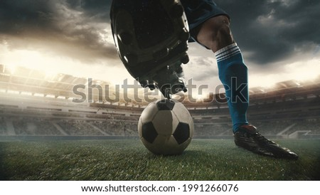 Male soccer, football player catching ball in playing during sport match on sky background at stadium with flashlights. Sport competition. Action, motion, energy and dynamic concept. Royalty-Free Stock Photo #1991266076