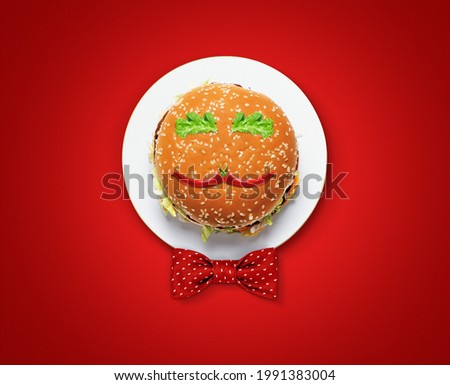 Happy Father's Day burger Concept. Father symbol shape with burger and Chili pepper concept for restaurant and food brand for father's day. Restaurant and fast food Father's day concept.