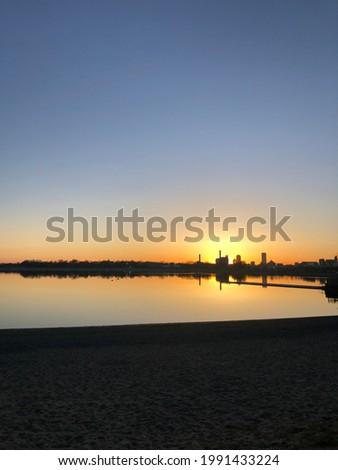 Boston city skyline at sunset
