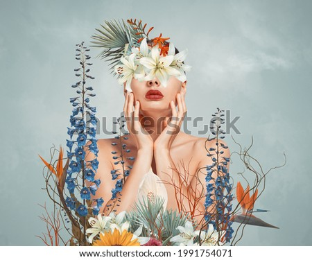 Abstract contemporary art collage portrait of young woman with flowers on face hides her eyes Royalty-Free Stock Photo #1991754071