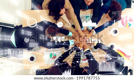 Creative visual of business people in the corporate staff meeting . Concept of digital technology for marketing data analysis and investment decision making .