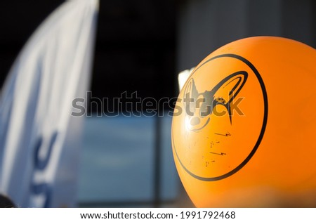 Orange balloon with a corgi dog muzzle pattern, on a blurry background, copy space