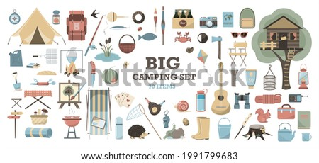 Big vector set for camping. Equipment for Hiking, mountaineering and camping-a set of icons and infographics. Flat design. Tree house, tent, camping utensils, backpack and scout tools cliparts.
