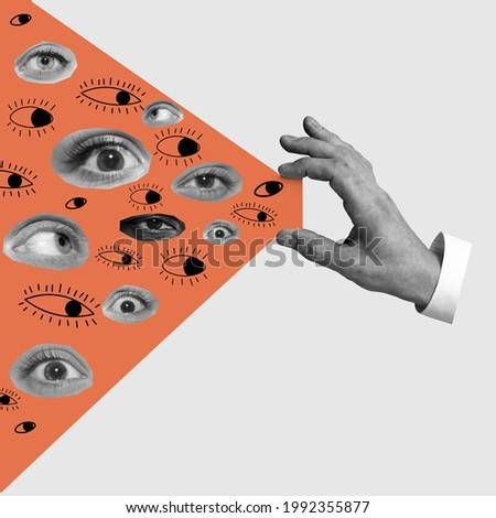 Male hand with eyes - search concept. Contemporary art collage, modern design. Aesthetic of hands. Trendy colors. Copyspace for your ad or text. Surreal conceptual poster. Royalty-Free Stock Photo #1992355877