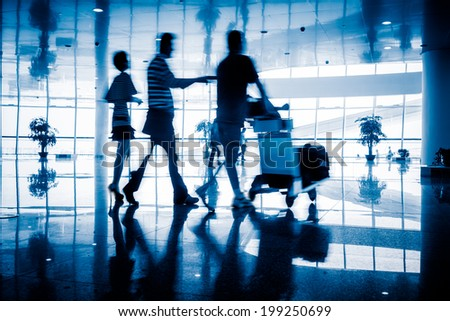 motion business traveler at airport, toned images. #199250699